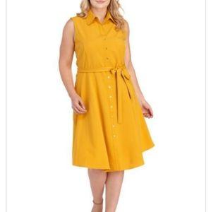 Sharagano Yellow Sleeveless Shirt dress